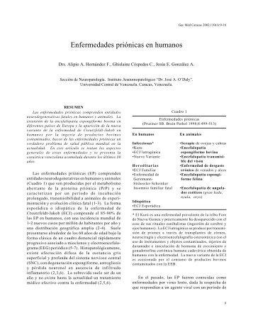 Enfermedades priónicas en humanos. - Academia Nacional de ...