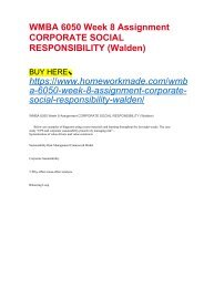 WMBA 6050 Week 8 Assignment CORPORATE SOCIAL RESPONSIBILITY (Walden)