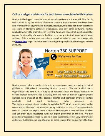 Call us and get assistance for tech issues associated with Norton