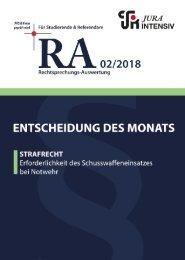 RA 02/2018 - Entscheidung des Monats