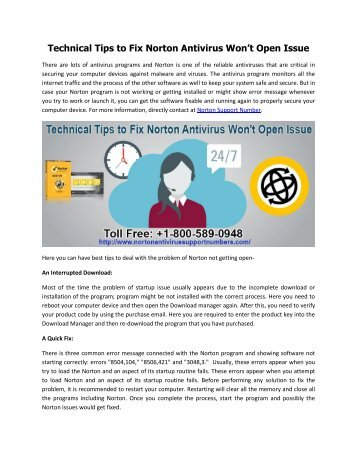 Dial +1-800-589-0948 to Fix Norton Antivirus Won't Open Issue