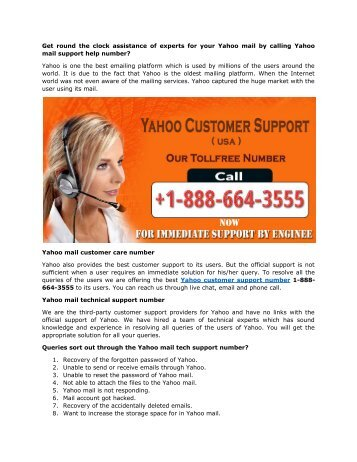 Yahoo mail support help number 1-888-664-3555