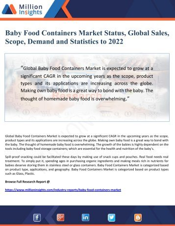 Baby Food Containers Market Status, Global Sales, Scope, Demand and Statistics to 2022