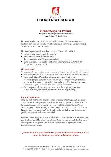 Hotel Hochschober Programm Hormonyoga Jasmin Pirchmoser 2018
