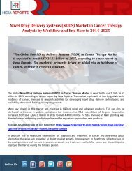 Novel Drug Delivery Systems (NDDS) Market in Cancer Therapy Analysis by Workflow and End User to 2014-2025