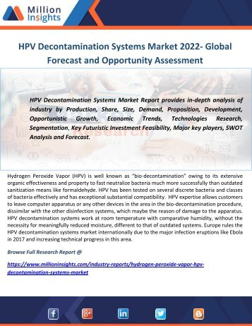 HPV Decontamination Systems Market 2022- Global Forecast and Opportunity Assessment