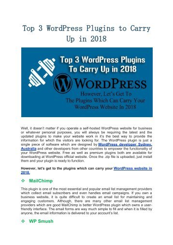Top 3 WordPress Plugins to Carry Up in 2018