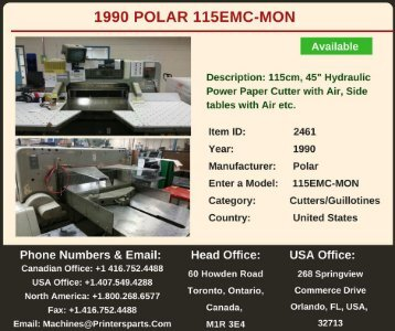 1990 POLAR 115EMC-MON Cutters/Guillotines Machine