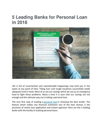 5 Leading Banks for Personal Loan in 2018