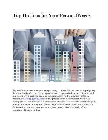 Top Up Loan for Your Personal Needs
