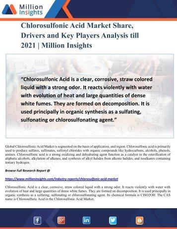 Chlorosulfonic Acid Market Share, Drivers and Key Players Analysis till 2021 Million Insights