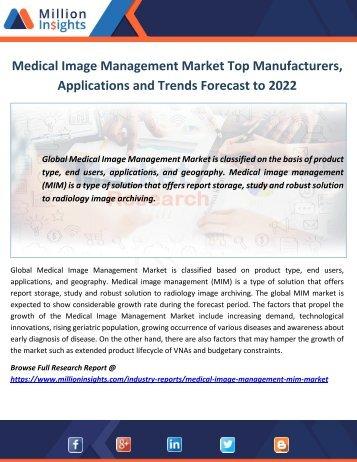 Medical Image Management Market Size, Share and Market Trends Forecast to 2022