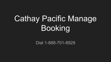 Cathay Pacific Manage Booking
