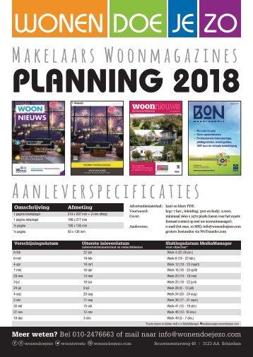 Planning Makelaarsmagazines 2018, by makelaars.media