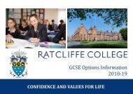 Ratcliffe College - GCSE Handbook