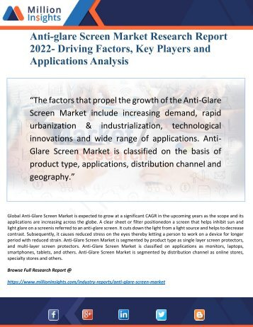 Anti-glare Screen Market Research Report 2022 by Top Regions and New Emerging Opportunities