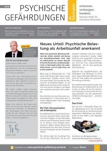 Psychische Gefährdungen am Arbeitsplatz_Ausgabe_Nr. 2.