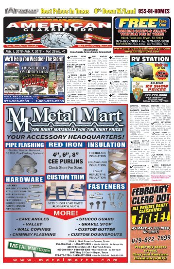 American Classifieds Feb. 1st Edition Bryan/College Station
