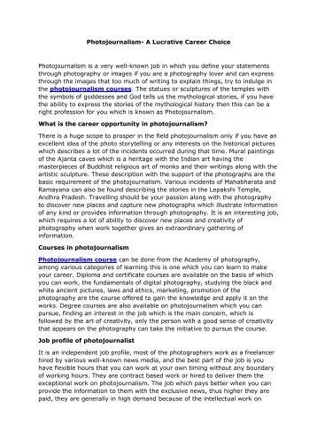 Photojournalism- A Lucrative Career Choice