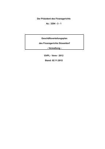 Geschäftsverteilungsplan der Verwaltung - Finanzgericht Düsseldorf