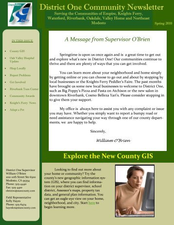 Spring 2010 District One Newsletter - Stanislaus County