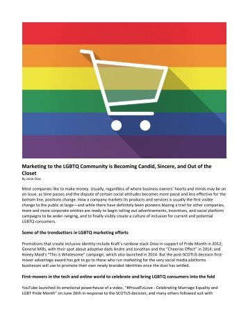 Marketing to the LGBTQ Community is Becoming Candid, Sincere, and Out of the Closet