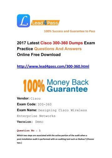 Latest Lead4pass Cisco 300-360 Dumps PDF Files Download