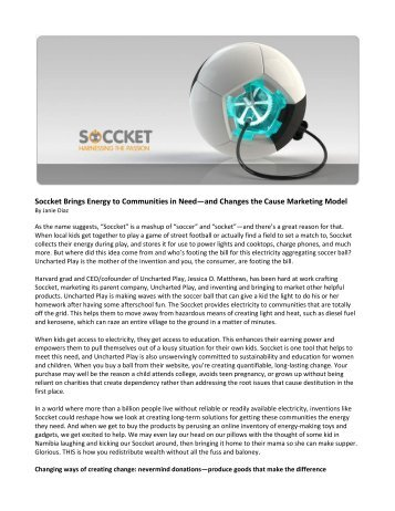 Soccket Brings Energy to Communities in Need—and Changes the Cause Marketing Model