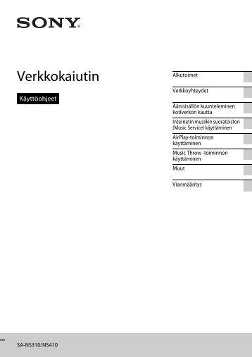 Sony SA-NS410 - SA-NS410 Mode d'emploi Finlandais