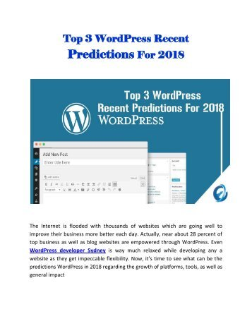 Top 3 WordPress Recent Predictions For 2018