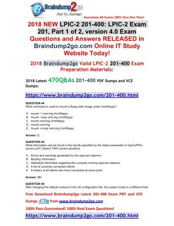 [2018-January-Version]New 201-400 Dumps with PDF and VCE 470Q&As Free Share(44-54)