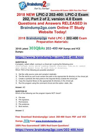 [2018-January-Version]New 202-400 Dumps with PDF and VCE 303Q&As Free Share(44-54)