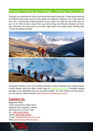 Himalaya Trekking Tour Packages- Trekking Trips In India