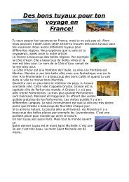 Des bons tuyaux pour ton voyage en France!