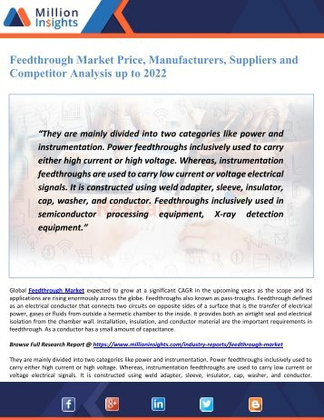 Feedthrough Market Price, Manufacturers, Suppliers and Competitor Analysis up to 2022
