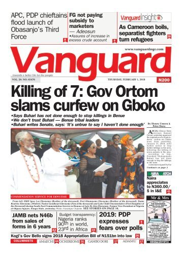 01022018 - Killing of 7: Gov Ortom slams curfew on Gboko