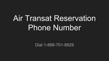 Air Transat Reservation Phone Number