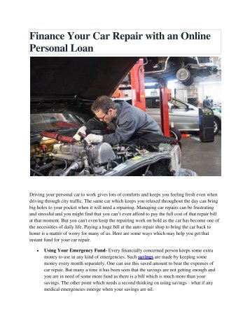 Finance Your Car Repair with an Online Personal Loan