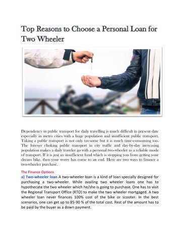 Top Reasons to Choose a Personal Loan for Two Wheeler
