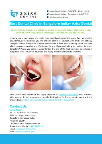 Best Dental Clinic In Bangalore India– Axiss Dental