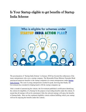Is Your Startup eligibile to get benefits of Startup India Scheme