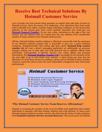 Receive Best Technical Solutions By Hotmail Customer Service
