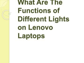 What Are The Functions of Different Lights on Lenovo Laptops