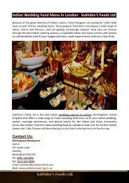 Indian Wedding Food Menu In London-  Sukhdev's Foods Ltd