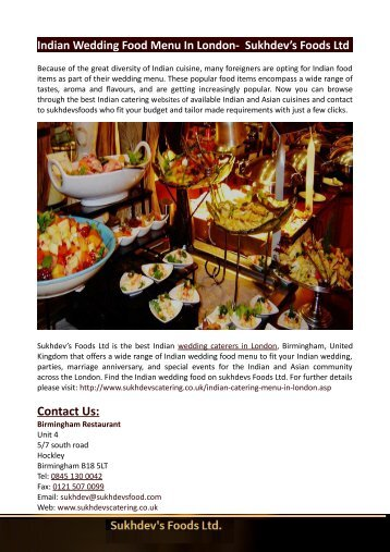 Indian Wedding Food Menu In London-  Sukhdev's Foods Ltd