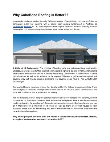 Why ColorBond Roofing is Better???