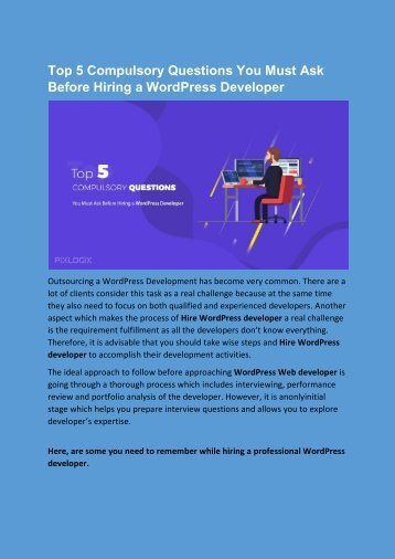 Top 5 Compulsory Questions You Must Ask Before Hiring a WordPress Developer