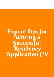 Expert Tips for Writing a Successful Residency Application CV