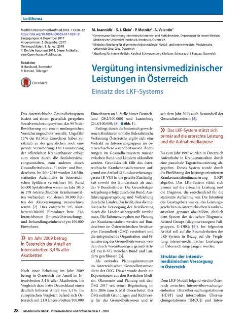 06 Vergütung intensivmedizinischer Leistungen in Österreich