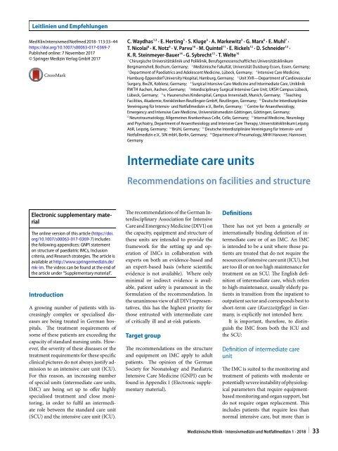 07 Intermediate care units